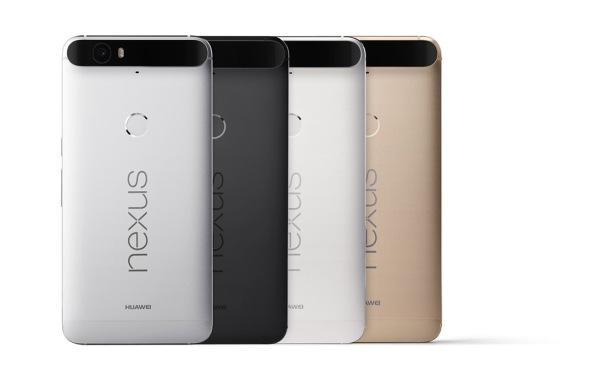 """Farben und Rückseite mit """"Kamerahügel"""" und Fingerabdruckscanner - Google Huawei NEXUS6P."""