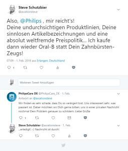 Philips: Mein Tweet und die kurze Rückantwort! Quelle: twitter.com