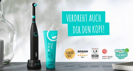Happy Brush StarterSet: Zahnbürste, Kopf, Zahnpasta - Quelle: happybrush Webseite
