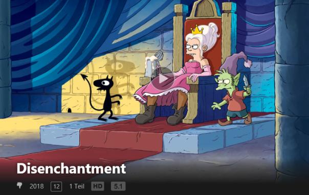 Screenshot aus der Netflix-App: Disenchantment: DAUMEN RUNTER! BÄH!