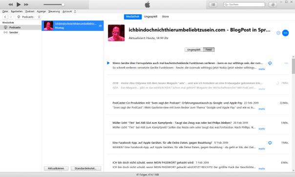 itunes - unaufgeräumt, chaotisch, funktionsüberladen - aber #1 in PodCasts! // Screenshot: itunes, apple.com