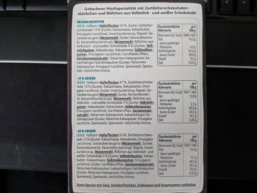 Nährstoffe und Brennwerte: für 100 Gramm, die Beutel haben aber nur 85!