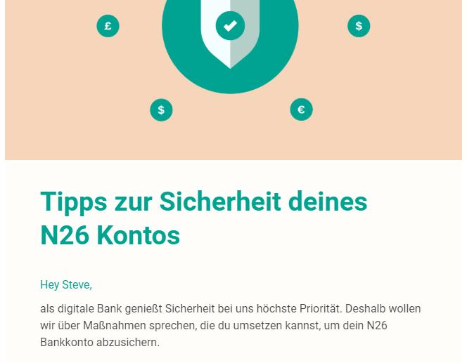 Wenn Dein Fintech namens N26 plötzlich ein massives Sicherheitsproblem hat / Bildquelle: N26 Newsletter