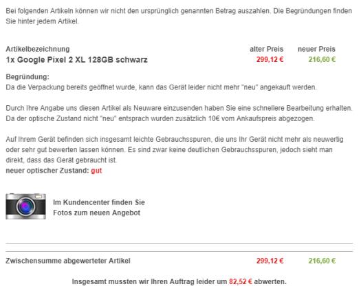Auszug der zoxs.de-Bewertungs-email / Quelle: zoxs.de