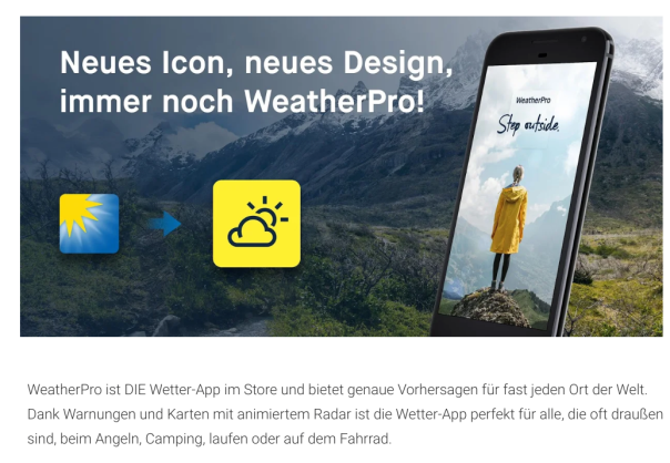 Weather Pro - leider immer noch MeteoGroup und nun auch noch bestehende Abonnenten verärgern! / Bild-Quelle: Meteogroup/Google