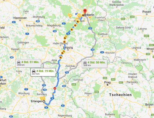 ...if you can make it there, you'll make in everywhere: Also, mein ChromeBook und mein Reservemikro eingepackt und ab nach Berlin! // Bild-Quelle: googlemaps