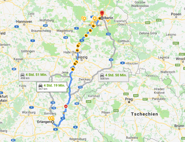 ...if you can make it there, you'll make in everywhere: Also, mein ChromeBook und mein Reservemikro eingepackt und ab nach Berlin! // Bild-Quelle: googlemaps