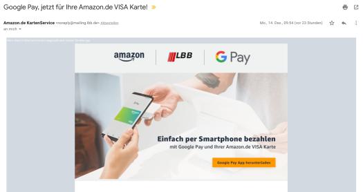 Infomail zur Verfügbarkeit Google Pay / Bild-Quelle: LBB